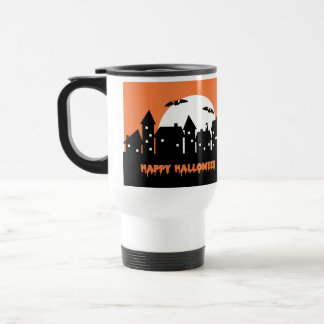 Halloween Skyline with Full Moon and Bats 15 Oz Stainless Steel Travel Mug
