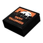 Halloween Skyline with Full Moon and Bats Jewelry Box