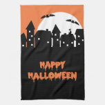 Halloween Skyline with Full Moon and Bats Hand Towel