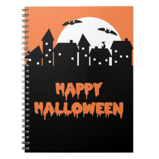 Halloween Skyline with Full Moon and Bats Note Book