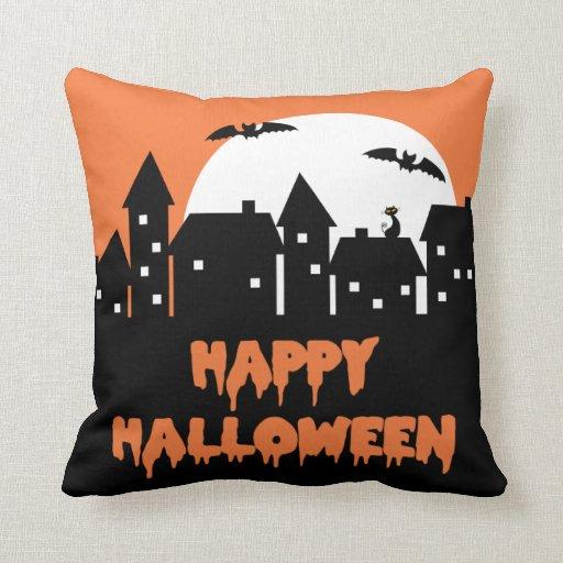 Halloween Skyline with Full Moon and Bats Throw Pillows