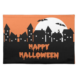 Halloween Skyline with Full Moon and Bats Place Mats