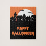 Halloween Skyline with Full Moon and Bats Jigsaw Puzzle