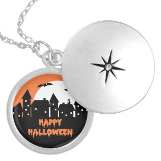 Halloween Skyline with Full Moon and Bats Round Locket Necklace
