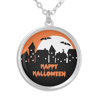 Halloween Skyline with Full Moon and Bats Round Pendant Necklace