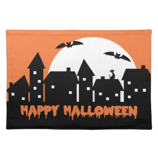 Halloween Skyline with Full Moon and Bats v2 Placemats