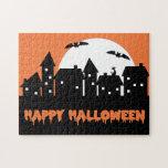 Halloween Skyline with Full Moon and Bats v2 Jigsaw Puzzles