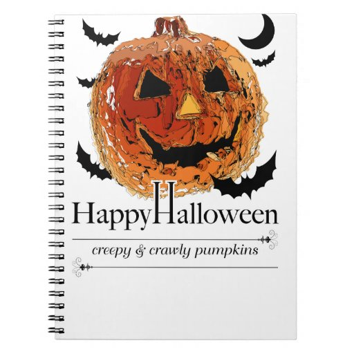 Halloween smile pumpkin spiral notebook