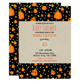 Halloween Smiley Pumpkins Whimsical Baby Shower Card