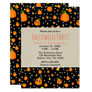 Halloween Smiley Pumpkins Whimsical Party Card