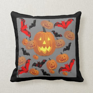 Halloween Themed HALLOWEEN  SMILING PUMPKINS & BATS GREY ART THROW PILLOW