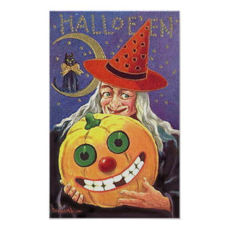 Halloween Smiling Witch and Pumpkin Poster