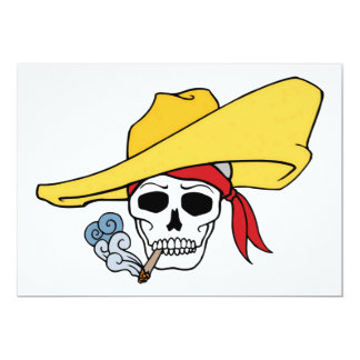 Halloween Smoking Skull with Bandana Cartoon Card