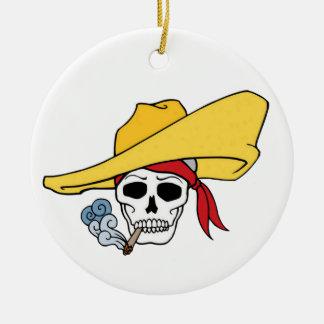 Halloween Smoking Skull with Bandana Cartoon Ceramic Ornament