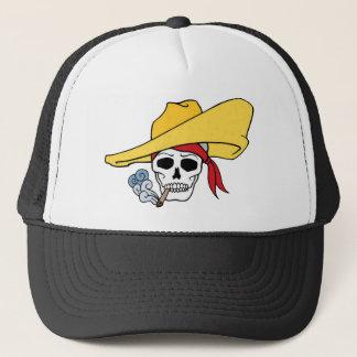 Halloween Smoking Skull with Bandana Cartoon Trucker Hat