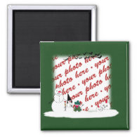 Halloween Snowmen Photo Frame 2 Inch Square Magnet