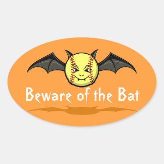 Halloween Softball Vampire Bat Oval Sticker