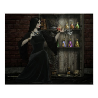 Halloween Sorceress and Skull Poster