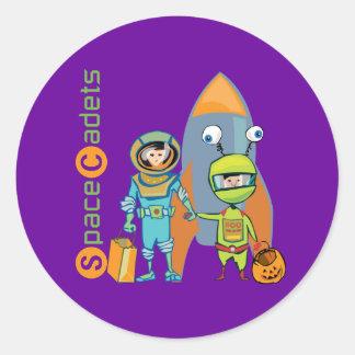 Halloween Space Cadets Round Sticker