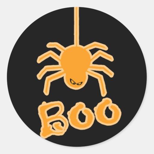 Halloween Spider Boo Round Stickers