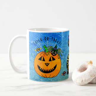 Halloween Spider, Cat and Pumpkin Coffee Mug