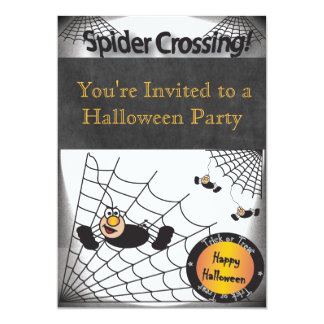 Halloween Spider Crossing Party Card