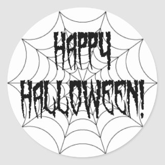 Halloween Spider Fingers and Web Classic Round Sticker
