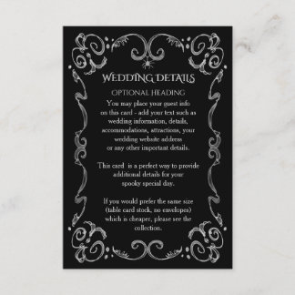 Halloween Spider Gothic Scroll Wedding Details Enclosure Card