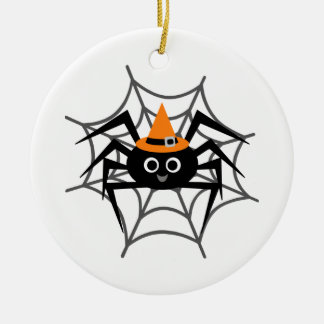Halloween Spider in Web Tshirts and Gifts Double-Sided Ceramic Round Christmas Ornament