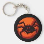 Halloween Spider Jack O Lantern Keychain