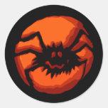 Halloween Spider Jack O Lantern Classic Round Sticker
