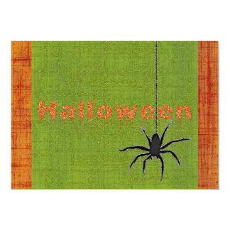 Halloween Spider Orange Green Sparkly Glitter Card