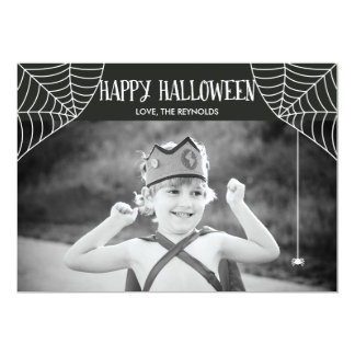 Halloween Spider Web Black and White Photo Card