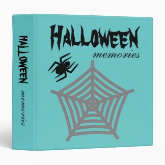 Halloween Spider & Web Blue Scrapbook Photo Album 3 Ring Binder
