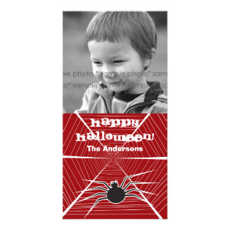 Halloween Spider Web Greeting Photo Card