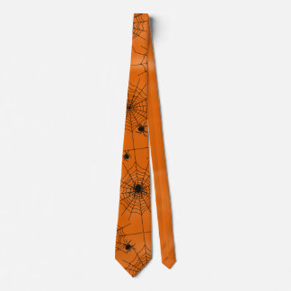 Halloween Spider Web Many Spiders on Orange Neck Tie