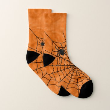 Halloween Themed Halloween Spider Web on Orange Socks