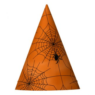 Halloween Spider Web with Spider on Orange