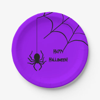 Halloween Spider with Web Purple Plate