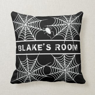 Halloween Spiders and Cobwebs Throw Pillow