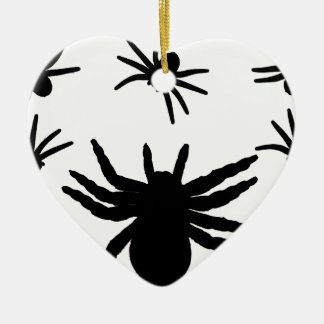 Halloween Spiders Double-Sided Heart Ceramic Christmas Ornament