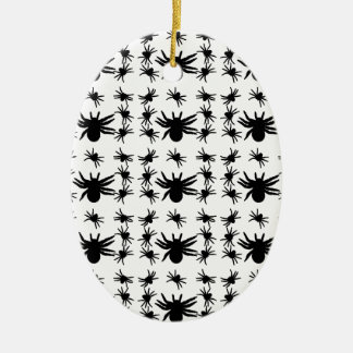 Halloween Spiders Grid Pattern Double-Sided Oval Ceramic Christmas Ornament