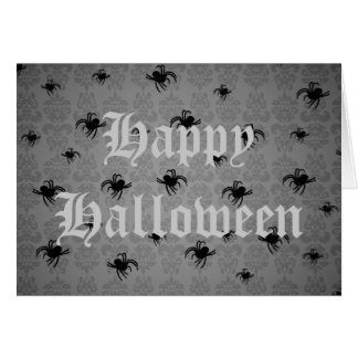 Halloween spiders on gray faded damask greeting card