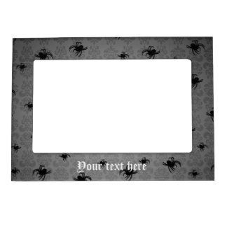 Halloween spiders on gray faded damask magnetic picture frame