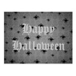 Halloween spiders on gray faded damask postcard