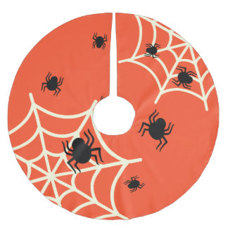 Halloween Spiders on Web Brushed Polyester Tree Skirt