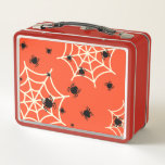 """Halloween Spiders on Web Metal Lunch Box<br><div class=""""desc"""">If you want to welcome Halloween with a unique and special party,  gift,  costume or accessory,  you will love this spider-themed and pumpkin-colored design. Don&#39;t forget to check out our collections for more Halloween designs.  https://www.zazzle.com/parazitgoodz/collections</div>"""