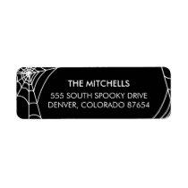 Halloween Spiderweb Return Address Labels | Black