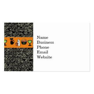 Halloween Spookey Writing with Orange Stripe Business Card Templates