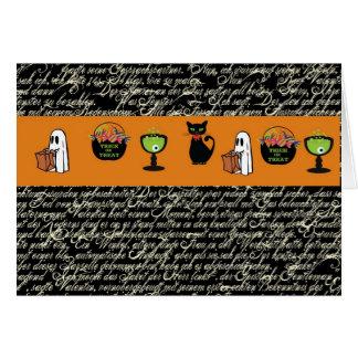 Halloween Spookey Writing with Orange Stripe Card